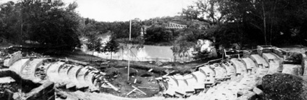 The amphitheatre during construction, 1985